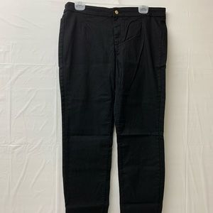 H & M slim fit cotton stretch black trousers 16